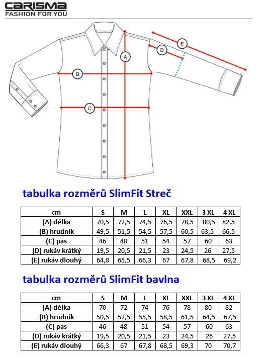 Tabulka rozměrů CARISMA