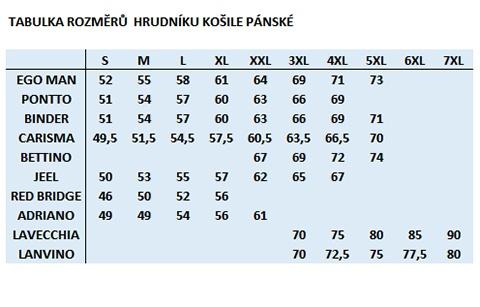 Srovnávací tabulka košile na DG-HOP.CZ